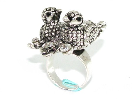 Details about Bejeweled Mandarin Ducks Feng Shui Ring for Love Luck