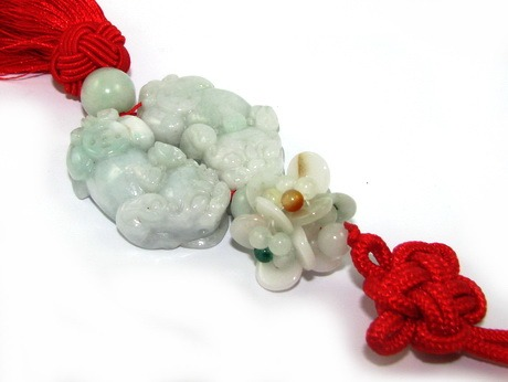 Pair of Jade Feng Shui Piyao - Flower