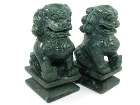 Pair of Green Stone Feng Shui Fu Dogs for Protection from Negativity
