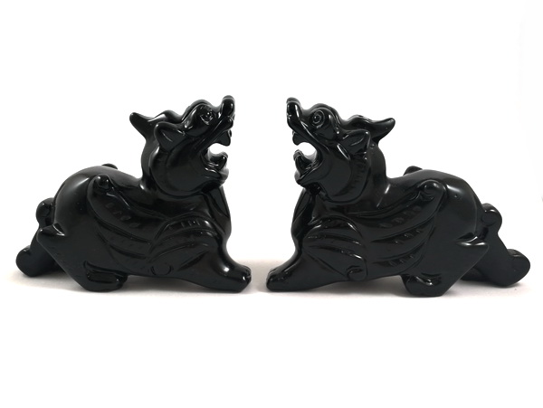 Pair of Obsidian Feng Shui Pi Yao for Gambling and Speculative Luck