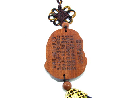 Wooden Guan Yin Goddess of Mercy Tassels for Protection - Car Amulet