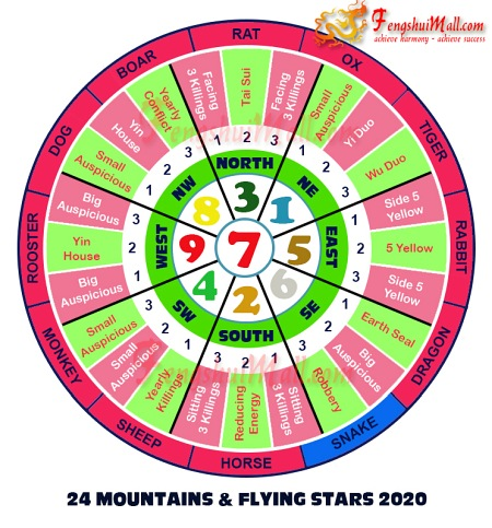 2020 Mountains Star and Flying Stars Chart for Horoscope Snake