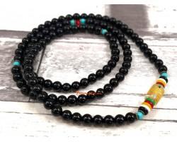 108 Black Obsidian Mala Beads with Om Mani Padme Hum