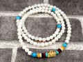108 White Coral Mala Beads with Om Mani Padme Hum