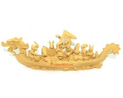 12 Chinese Horoscope Animals on Boat (Wood color)