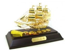 24k Gold Plated Handcrafted Exquisite Wealth Ship 33gp