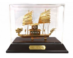 24k Gold Plated Handcrafted Exquisite Wealth Ship 361gp