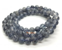 3-Round Blue Rutilated Quartz Bracelet