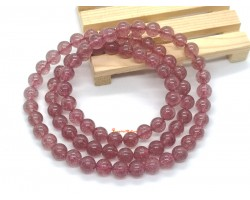 3-Round Strawberry Quartz Crystal Bracelet