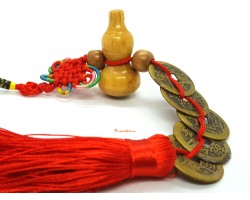 5 Brass Coins with Wu Lou Feng Shui Tassel
