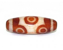 6 Eye Red Agate Dzi Bead (Design B)