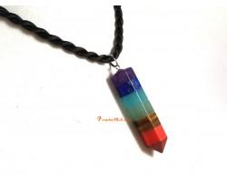 7 Chakra Crystal Point Pendant/Pendulum