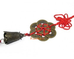 Eight Feng Shui Coins with Bell Tassel