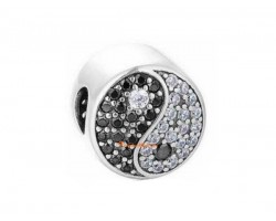 925 Silver Feng Shui Yin and Yang Symbol Beads Charm with Zircon Diamonds