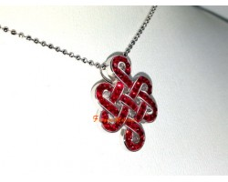 925 Silver Mystic Knot Pendant with Red Swarovski Crystals