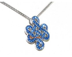 925 Silver Mystic Knot Pendant with Blue Swarovski Crystals