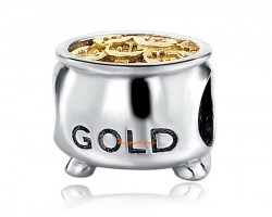 925 Silver Wealth Gold Pot Bead Charm