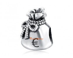 925 Sterling Silver Money Bag with Euro Sign Charm Bead