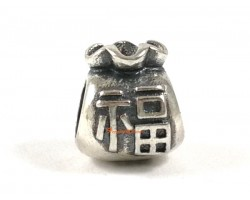 925 Sterling Silver Money Bag with Fuk Charm Bead