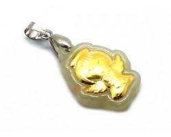 999 Pure Gold Angel Hetian Jade Pendant