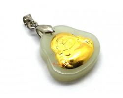 999 Pure Gold Laughing Buddha Hetian Jade Pendant