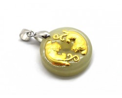 999 Pure Gold Pair of Pi Yao He Tian Jade Pendant