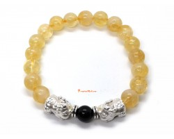 A Pair of 925 Silver Baby Pi Yao with Citrine Bracelet