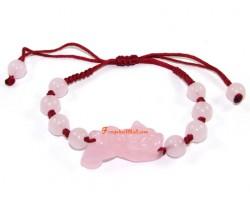 Adjustable Feng Shui Pi Yao Bracelet - Rose Quartz