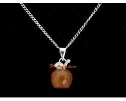 Faceted Apple Pendant Necklace - Red Agate