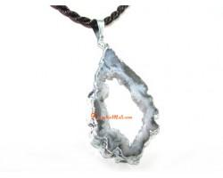 Brown Agate Slice Crystal Pendant