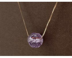 Amethyst Cloud Ball Pendant with 925 Rose Gold Necklace