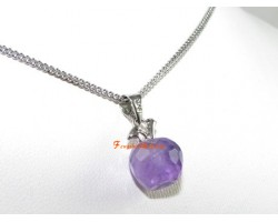 Faceted Apple Pendant Necklace - Amethyst