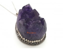 Amethyst Geode Bejeweled Pendant