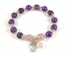 Amethyst Quartz Bracelet with Pi Chiu