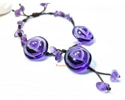 Amethyst Rose Adjustable Bracelet