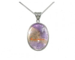 Ametrine Cabochon Crystal Pendant with SS Necklace