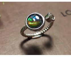 Ammolite Round Adjustable Silver Ring
