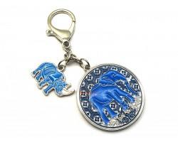 Anti Robbery Amulet with Blue Rhino & Elephant