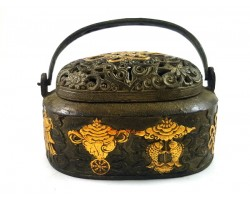 Antiquated Brass Trinket Box with 8 Auspicious Objects