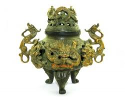 Antiqued Brass 9 Dragons Incense Burner (L)