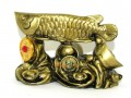 Arowana on Bed of Wealth (brass color)