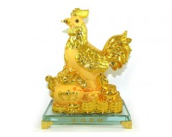 Auspicious Golden Rooster with Wealth Pot