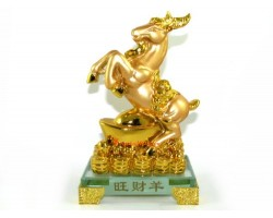Auspicious Golden Sheep / Goat / Ram with Gold Ingot