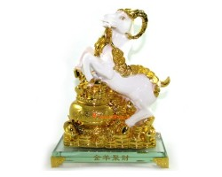 Auspicious White Sheep / Goat / Ram with Wealth Pot
