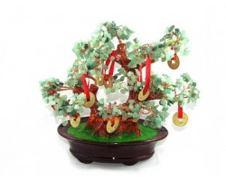 Aventurine Crystal Bonsai Tree with 9 Coins