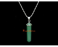 Aventurine Crystal Point Pendant with Stainless Steel Necklace