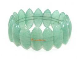 Green Aventurine Quartz Leaf-Shape Crystal Bracelet
