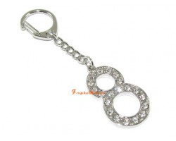 Bejeweled Power of 8 Charm Keychain