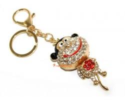 Bejeweled Cute Smiley Monkey Keychain