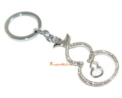 Bejeweled Double Wu Lou Keychain for Health Luck